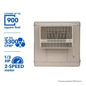Click here to buy Champion Cooler 3300 CFM 2-Speed Window Evaporative Cooler for 900 sq. ft. (with Motor and Remote Control) by Champion Cooler.