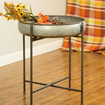 25.79 in. H Galvanized Metal Farmhouse Shelf with Removable Round Tray