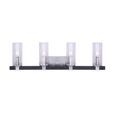 Cedar 32 in. 4-Light Matte Black and Brushed Nickel Vanity Light with Seeded Glass Shades