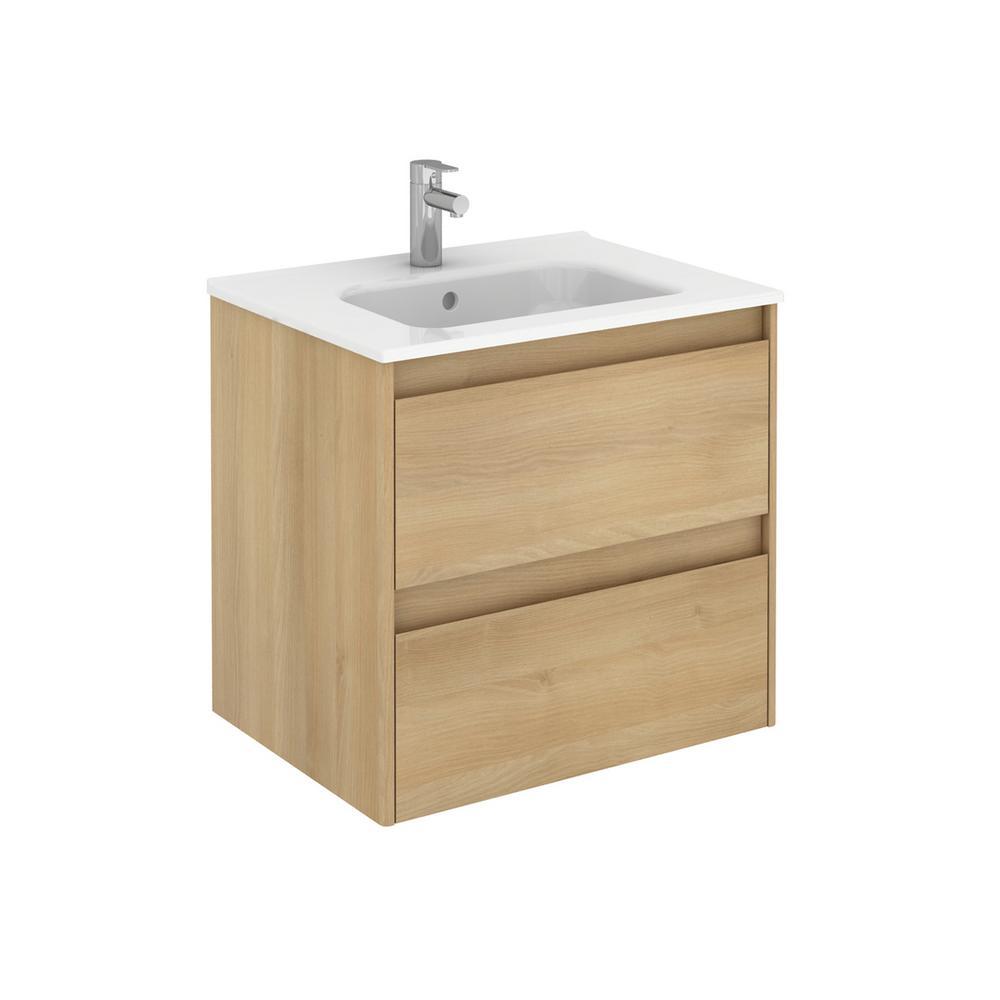 Ambra 23.9 in. W x 18.1 in. D x 22.3 in. H Bathroom Vanity Unit in Nordic Oak with Vanity Top and Basin in White
