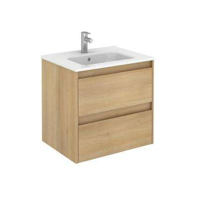 23.9 in. W x 18.1 in. D x 22.3 in. H Bathroom Vanity Unit in Nordic Oak with Vanity Top and Basin in White