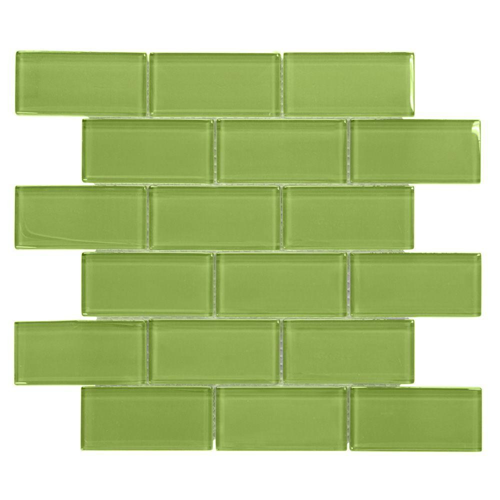 Jeffrey Court Lime 12 in. x 12 in. x 8 mm Glass Mosaic Wall Tile