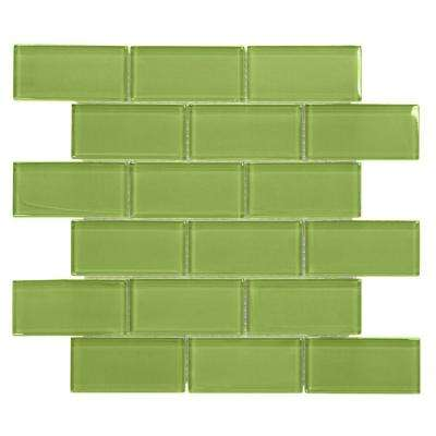 Lime 12 in. x 12 in. x 8 mm Glass Mosaic Wall Tile