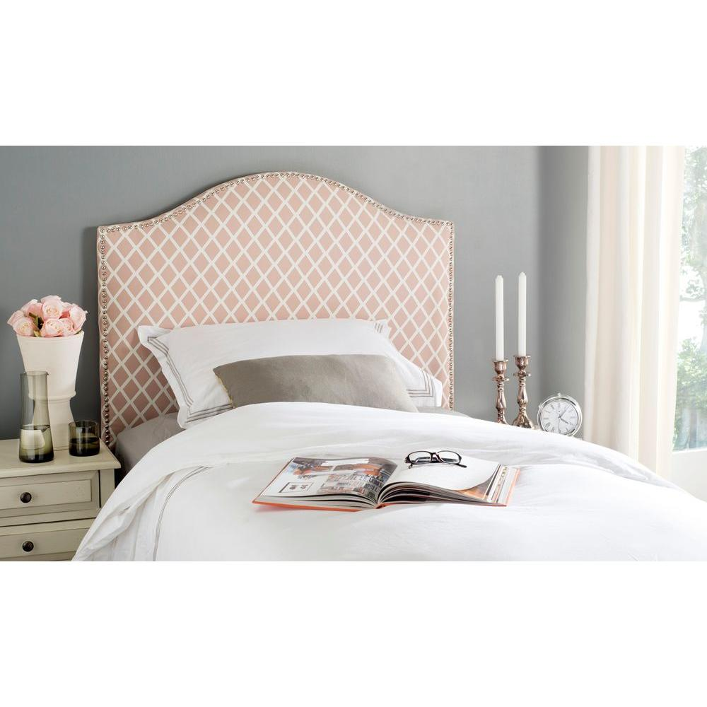 Connie Dusty Rose and White Twin Headboard
