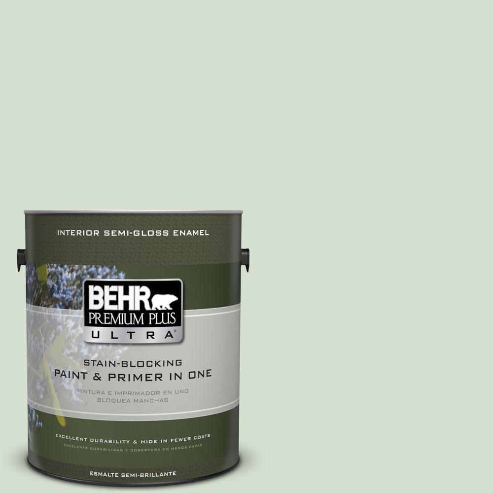 BEHR Premium Plus Ultra 1-gal. #S400-2 Comforting Green Semi-Gloss Enamel Interior Paint