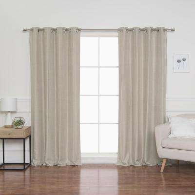 Herringbone 52 in. W x 84 in. L Curtains in Beige (2-Pack)