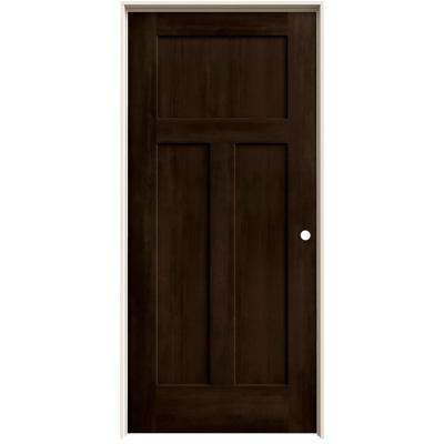 36 in. x 80 in. Craftsman Espresso Stain Left-Hand Solid Core Molded Composite MDF Single Prehung Interior Door