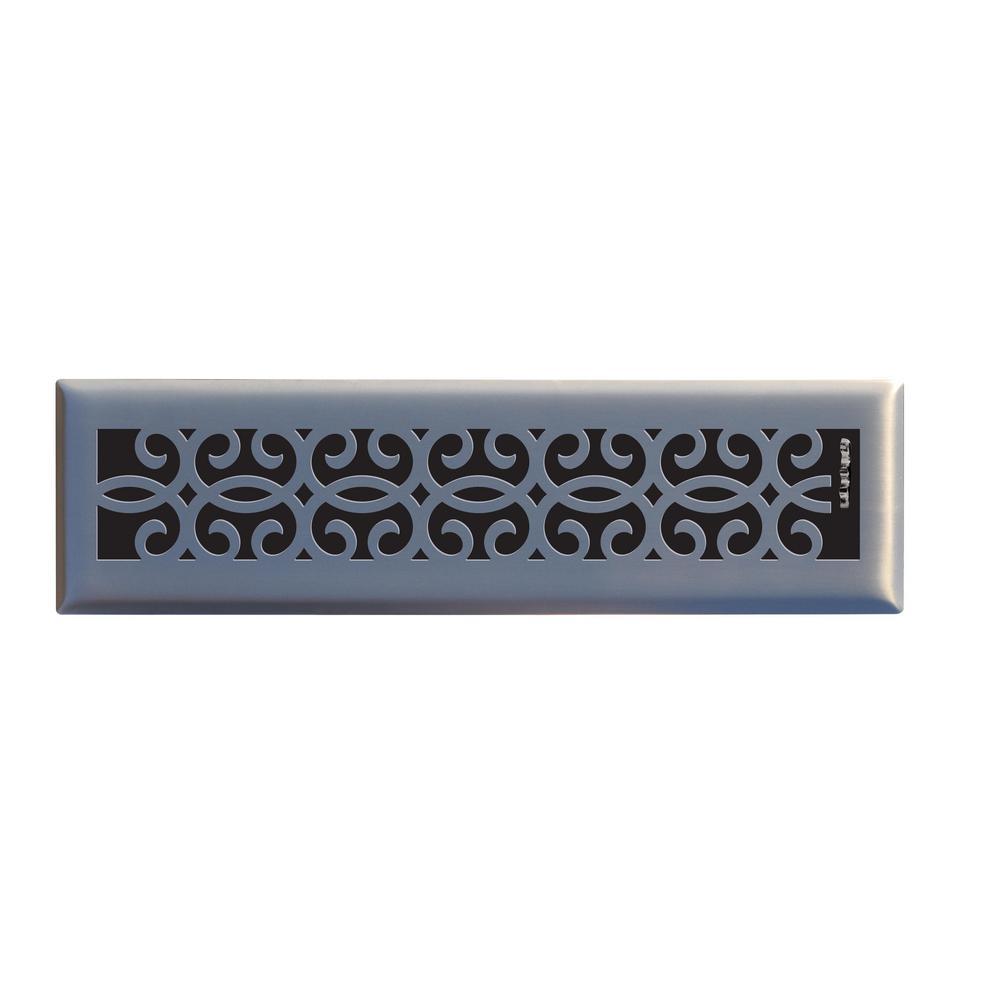 Classic Scroll 2 in. x 12 in. Steel Floor Register in Brushed Nickel