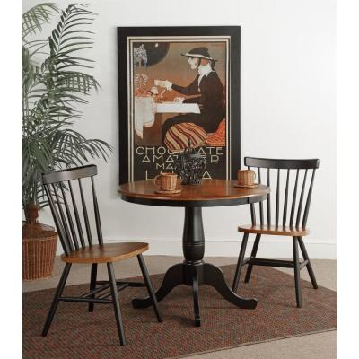 Black & Cherry 36 in. Round Solid Wood Dining Table