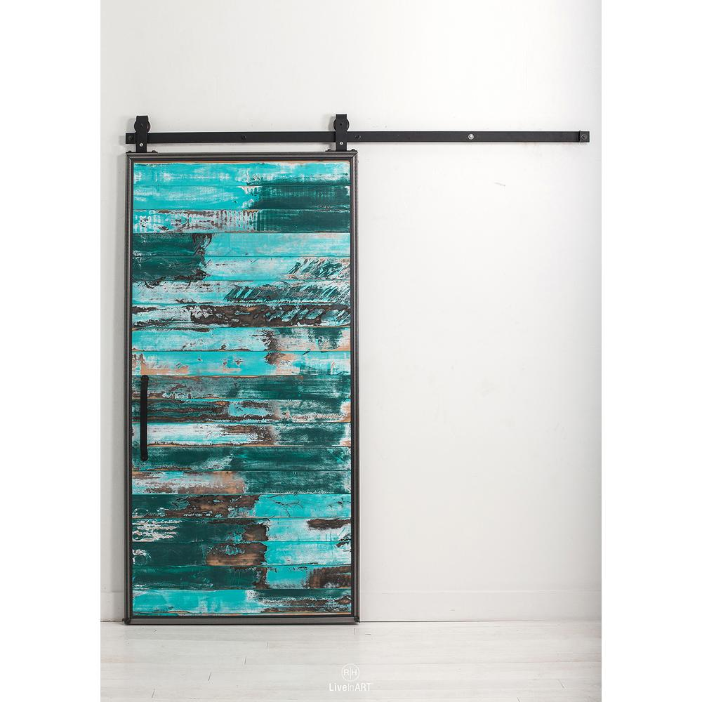 Mountain Modern Aqua Wood Barn Door With Sliding Doors