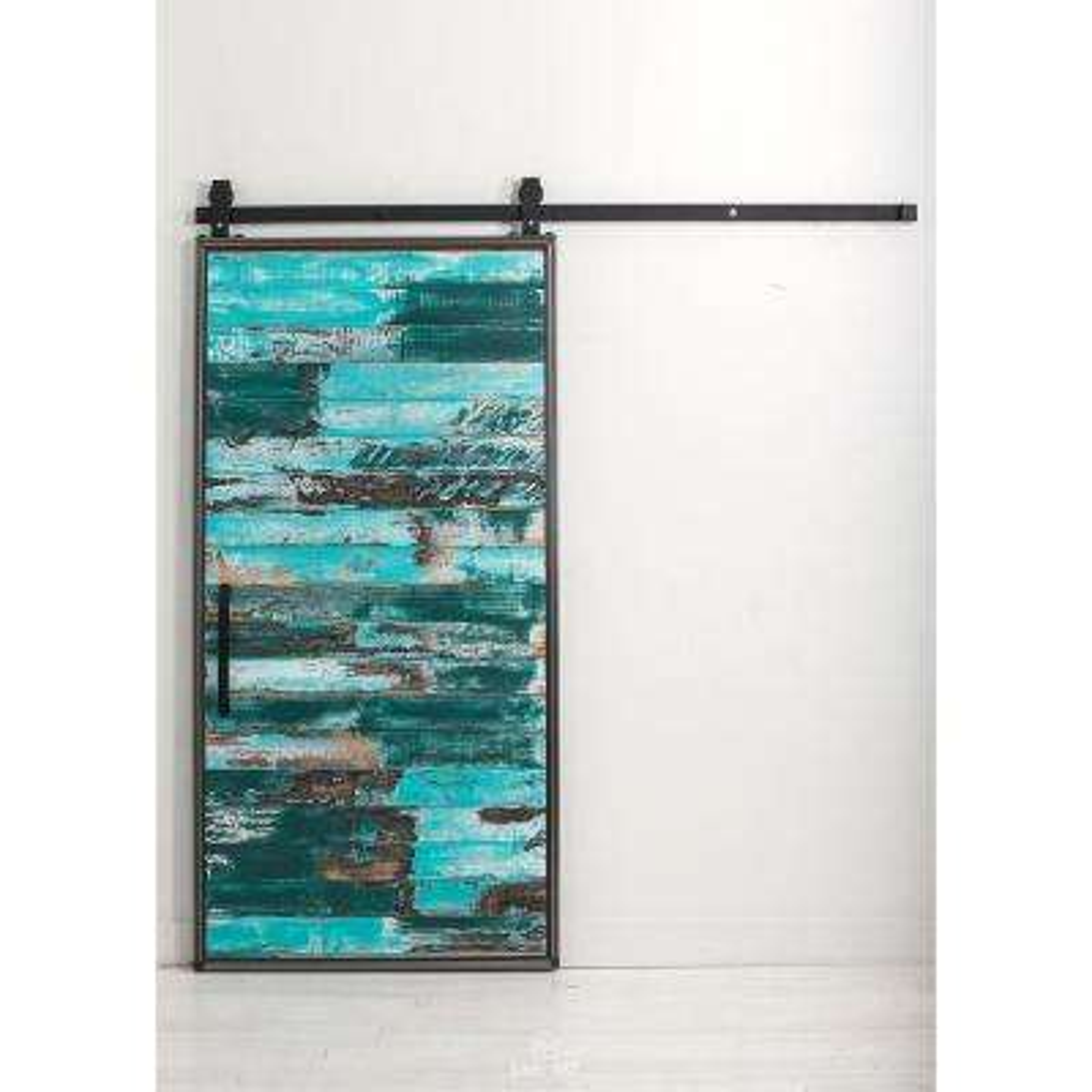 36 in. x 84 in. Mountain Modern Aqua Wood Barn Door with Mountain Modern Sliding Door Hardware Kit