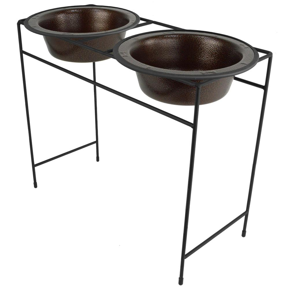 Platinum Pets 10 Cup Modern Double Diner Feeder with Dog Bowls, Coper Vein