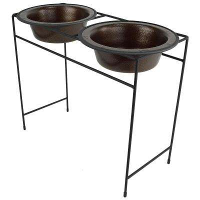 Platinum Pets Modern Double Diner Feeder with Stainless Steel Cat/Dog Bowls, Copper Vein