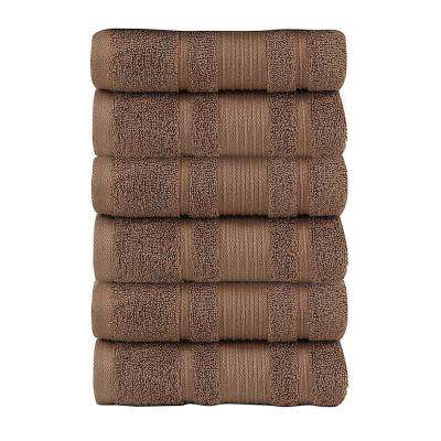 Pure Turkish Cotton Collection 16 in. W x 30 in. H Luxury Hand Towel in Brown (Set of 6)