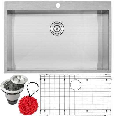 Arlo Zero Radius Drop-In 18-Gauge Stainless Steel 33 in. Single Bowl Kitchen Sink with Accessory Kit