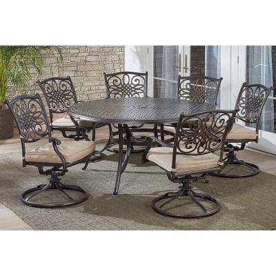 Traditions 7-Piece Aluminum Outdoor Dining Set with 6 Swivel Rockers with Tan Cushions and Cast-Top Table