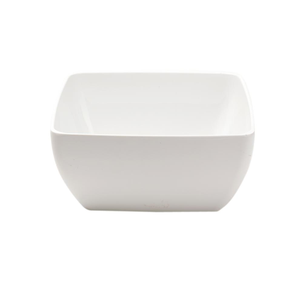Diamond Square 10.5 in. Melamine Serving Bowl in White