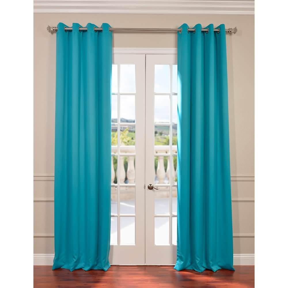 Exclusive Fabrics Furnishings Semi Opaque Turquoise Blue Grommet Blackout Curtain