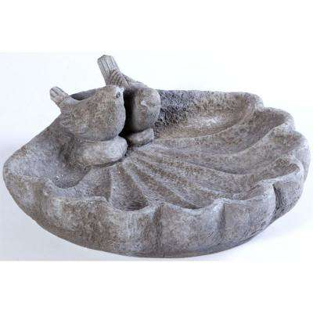 Cast Resin Shell Sparrow Birdbath in Antique Granite Finish