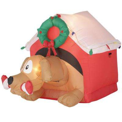 w inflatable animated dog with candy cane - Animated Christmas Decorations