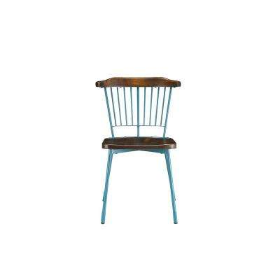 Orien Teal and Brown Oak Side Chair (Set of 2)