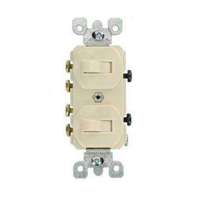 15 Amp Commercial Grade Combination Two 3-Way Toggle Switches, Light Almond