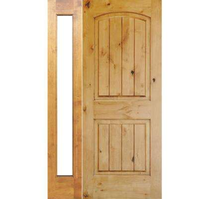 46 in. x 80 in. Rustic Unfinished Knotty Alder Arch Top VG Left-Hand Left Full Sidelite Clear Glass Prehung Front Door