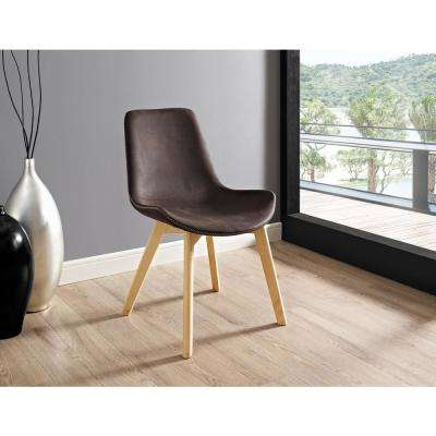Brown Suede Side Chair with Edge Stitching