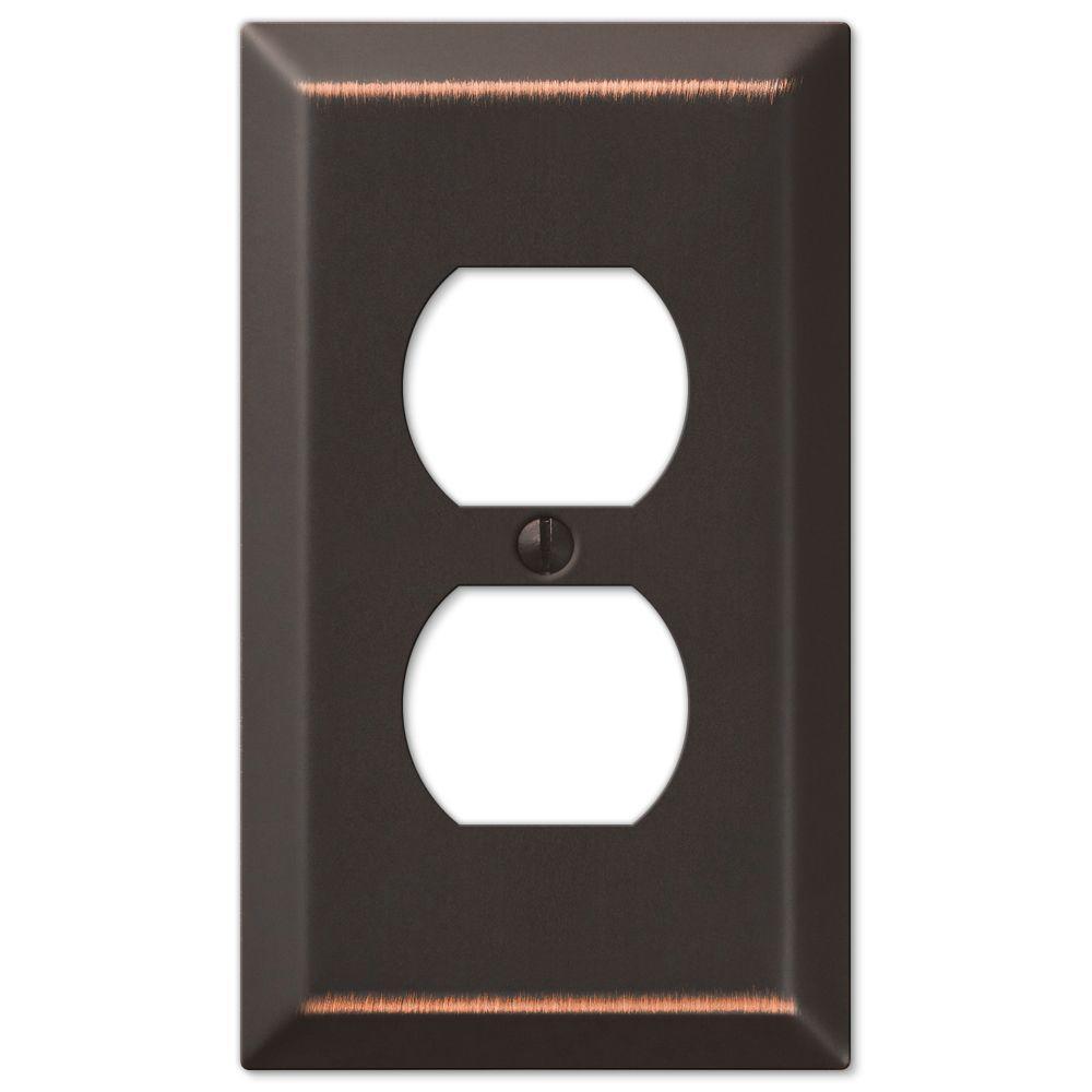 Metallic Steel 1 Duplex Outlet Plate - Aged Bronze Cast