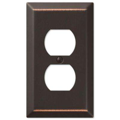 Metallic Steel 1 Duplex Outlet Plate - Oil-Rubbed Bronze Cast