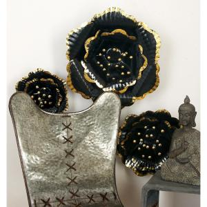 Black and Gold Ribbed Floral Wall Decor (3-Pack) by