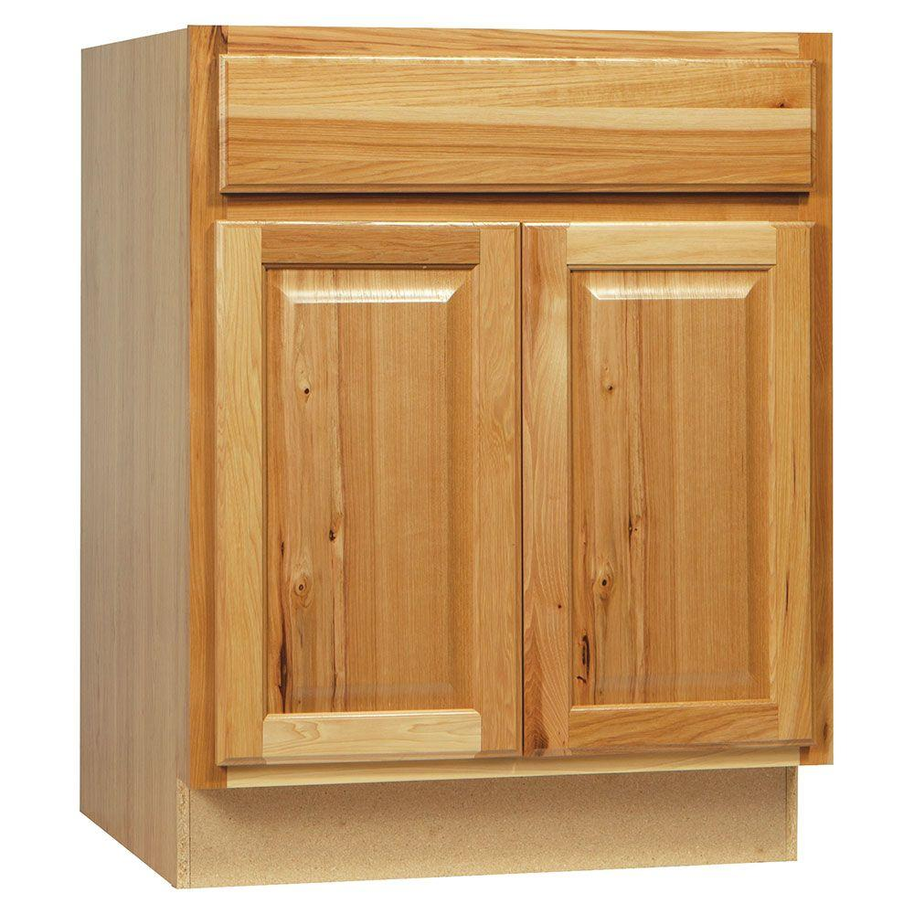 Hampton Bay Hampton Assembled 27x34.5x24 in. Base Kitchen Cabinet with  Ball-Bearing Drawer Glides in Natural Hickory