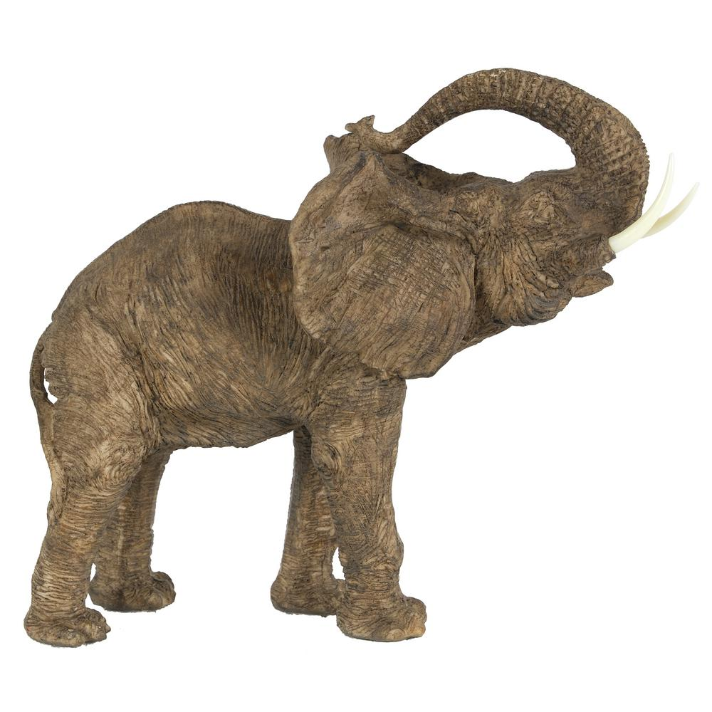 12 in. Polyresin Elephant Decorative Statue, Brown