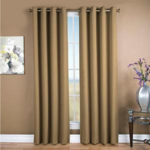 Blackout Ultimate Blackout Polyester Grommet Curtain Panel 56 inch W x 96 inch L Sand by