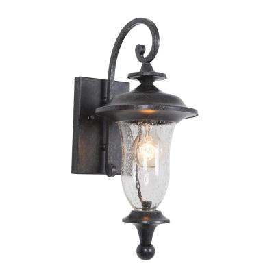 1-Light Exterior Stone Light with Clear Seedy Glass Small