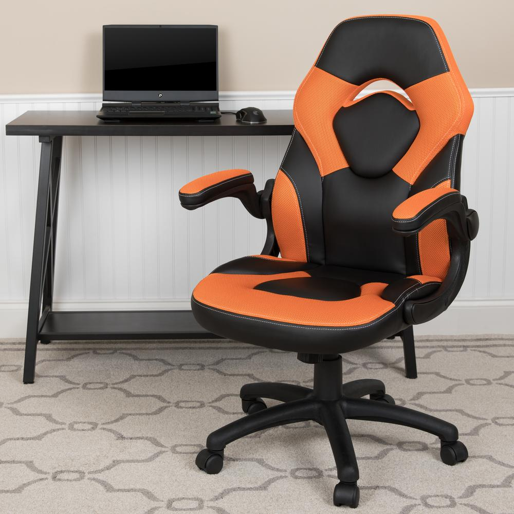 CarnegyAvenue Carnegy Avenue Carengy Avenue Orange LeatherSoft Upholstery Racing Game Chair