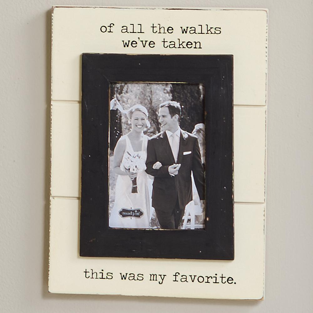 Wedding 4 in. x 6 in. Off White Painted Distressed Of All the Walks ...