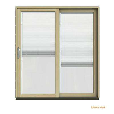 72 in. x 80 in. W-2500 Contemporary Green Clad Wood Right-Hand Full Lite Sliding Patio Door w/Unfinished Interior