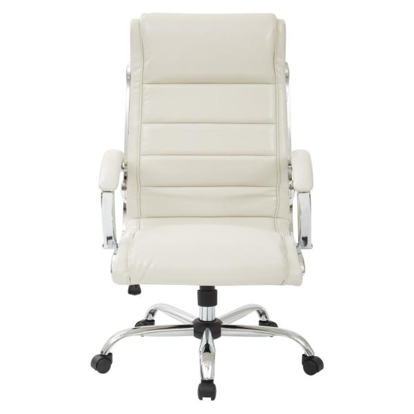 Office Star Products Cream Faux Leather Executive Chair FL1327C-U28