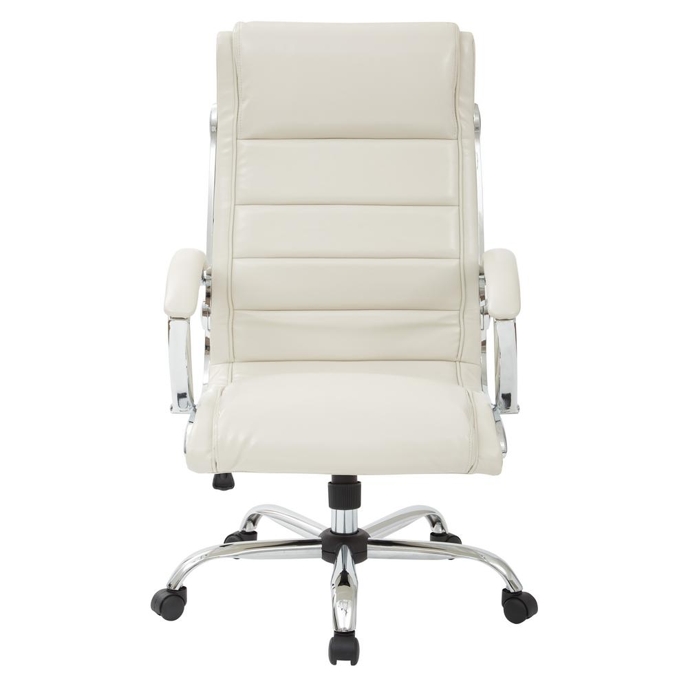 Cream Faux Leather Executive Chair