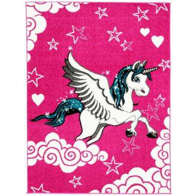 Multi-Color Kids Children and Teen Bedroom and Playroom Kids Children Pink Unicorn 5 ft. x 7 ft. Area Rug