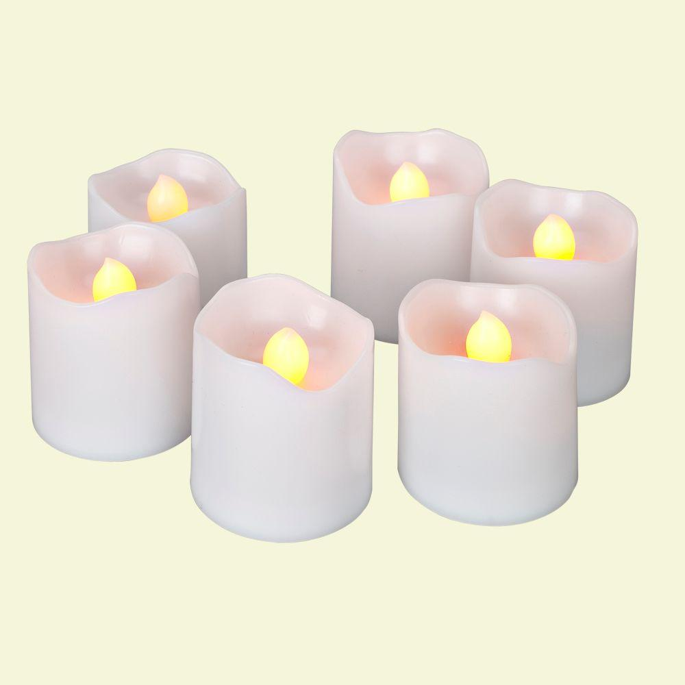 Home Accents Holiday Battery Operated White Super Bright Votive Candle (Pack of 6)