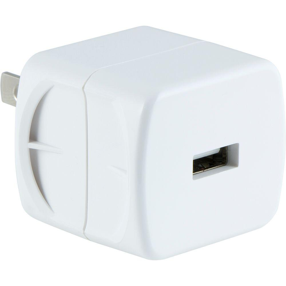 1.0 Amp Single Port AC to USB Adapter, Folding Prongs, White