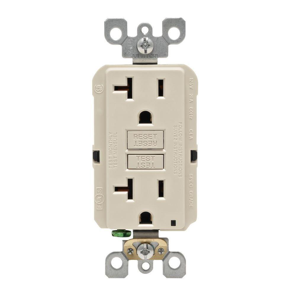 Leviton 20 Amp Self Test Smartlockpro Slim Duplex Gfci Outlet Light