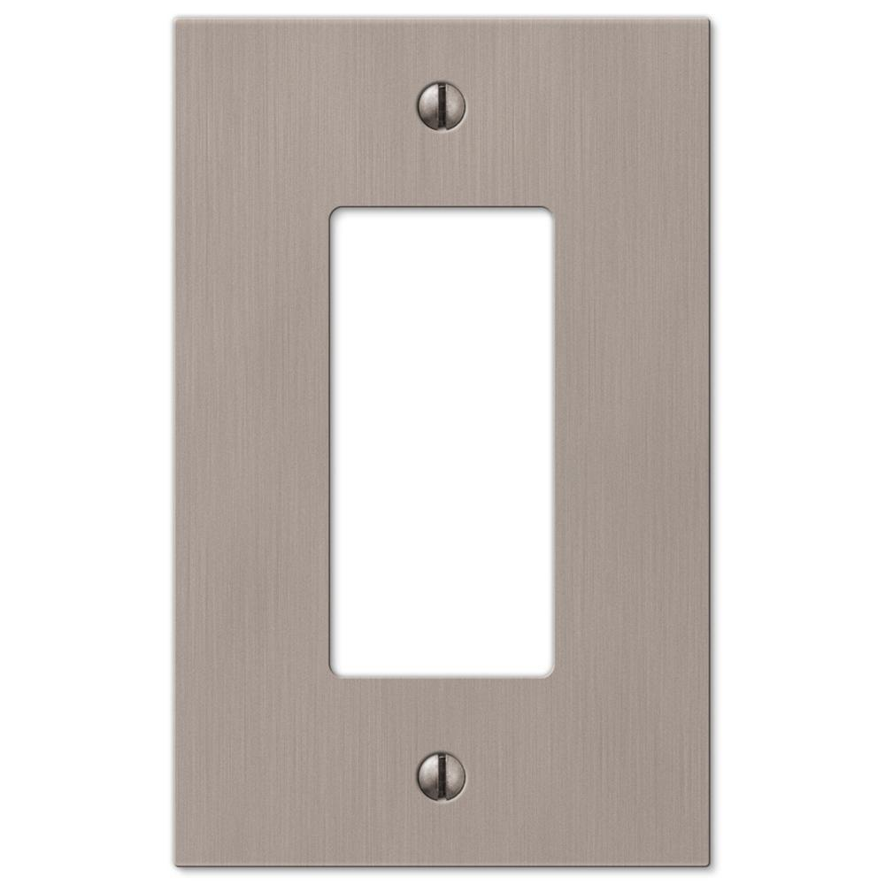 Nickel switch plates wall plates the home depot barnard 1 decora wall plate brushed nickel cast aloadofball Image collections