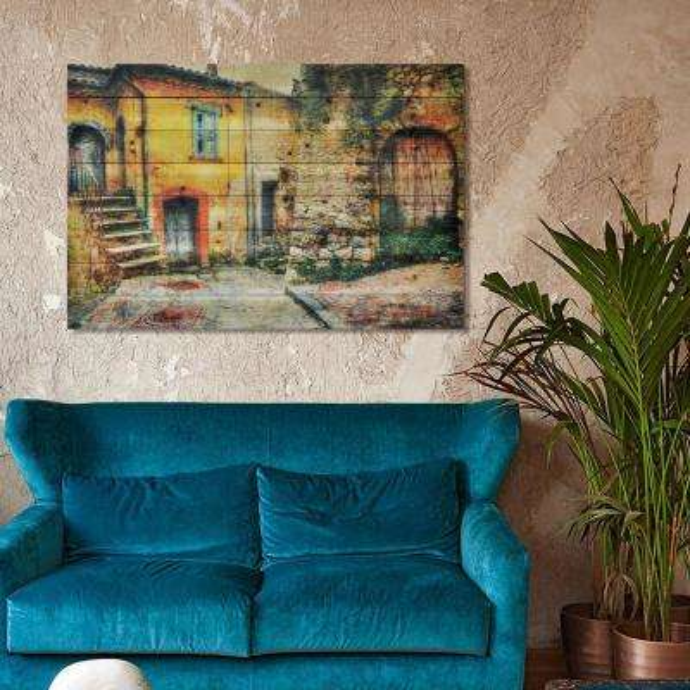 """30 in. x 45 in. """"Old Town"""" Arte de Legno Digital Print on Solid Wood Wall Art"""