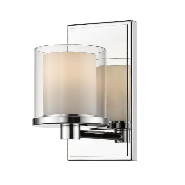 Mira 1-Light Chrome Bath Light with Clear and Matte Opal Glass Shade