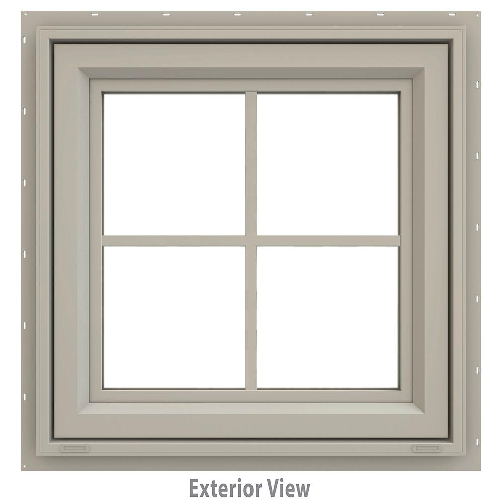 JELD-WEN 23.5 in. x 23.5 in. V-4500 Series Desert Sand Vinyl Awning Window with Colonial Grids/Grilles