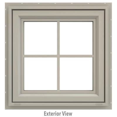 23.5 in. x 23.5 in. V-4500 Series Desert Sand Vinyl Awning Window with Colonial Grids/Grilles
