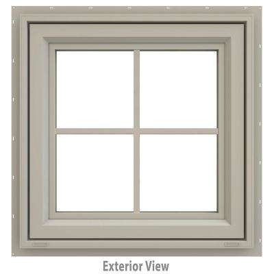 23.5 in. x 23.5 in. V-4500 Series Awning Vinyl Window with Grids - Tan